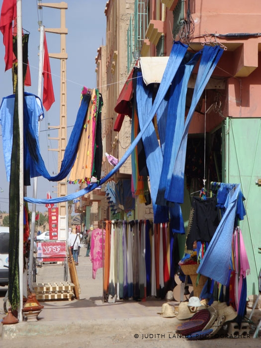 Blue Tuareg turban cloth hanging from shop, Rissani, Morocco  North Africa